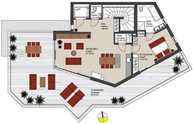 penthousewohnung mit dachterrasse – babblepath, Wohnzimmer dekoo